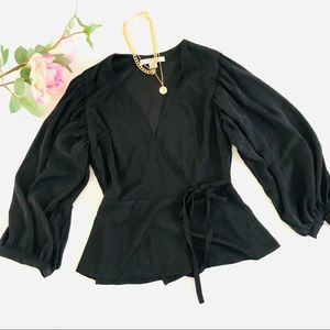 Black Puffed Sleeve Wrap Top Size Small